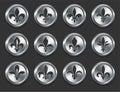 Fleur de Lys Icons sur des boutons d'Internet en métal Photo libre de droits