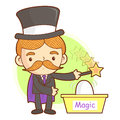 Flexibility as possible a magician mascot work and job characte character design series Royalty Free Stock Photo