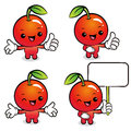 Flexibility as possible set apple mascot food market character design series Stock Image