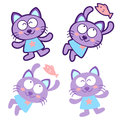 Flexibility as possible a sets of cat mascot animal character d design series Royalty Free Stock Photos