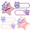 Flexibility as possible a sets of cat mascot animal character d design series Stock Photography