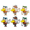 Flexibility as possible a sets of duck mascot bird character de design series Royalty Free Stock Photos