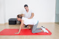 Flexibility exercise with elder woman Royalty Free Stock Photo
