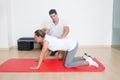 Flexibility exercise with elder woman Royalty Free Stock Photo