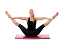 Flexibilyty woman smiling doing pilates exercise Stock Image