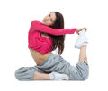 Flexible dancer doing stretching exercise Royalty Free Stock Photos