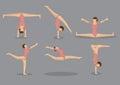 Flexible gymnast woman vector icon set of six cartoon with great flexibility doing floor gymnastic exercises icons on grey Stock Image
