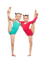 Flexible little girls gymnasts, isolated on white background