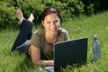 flexible work - technology in nature Royalty Free Stock Photo