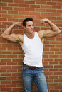 Flexing Bodybuilder Stock Photo
