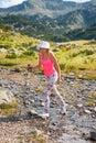 Flicka på berget pirin Fotografering för Bildbyråer