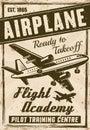 Flight academy vector vintage advertising poster