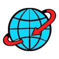 Flight around the world icon cartoon