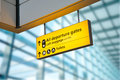 Flight arrival and departure board at the airport taken in Royalty Free Stock Photo