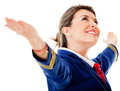 Flight attendant with arms open Royalty Free Stock Photos