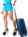 Flight attendant with her carry-on Royalty Free Stock Photo