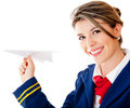 Flight attendant with a paper airplane Stock Image