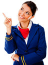 Flight attendant pointing Stock Photo
