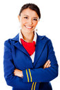 Flight attendant smiling Stock Images