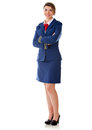 Flight attendant standing Stock Photo