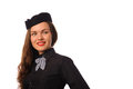Flight attendant studio shot of beautiful young in black clothing Royalty Free Stock Photo