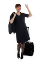 Flight attendant waving Royalty Free Stock Image