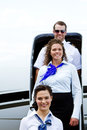 Flight crew exiting plane Royalty Free Stock Photo