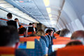 Flight crew and passengers flight on an aircraft Royalty Free Stock Photo