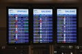 Flight information boards malaga airport departure destination province costa del sol andalusia spain western europe Royalty Free Stock Photo