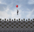 Flight man flies above the crowd businessmen Stock Photos