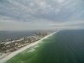Flight over the Gulf of Mexico in Pensacola, Florida. Landscape. Water and beach in Background. Portofino Island Resort
