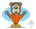 Flight suit bear cute teddy cartoon wearing an orange jumpsuit Stock Photography