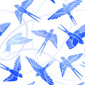 Flight of Swallows - watercolor pattern Royalty Free Stock Photo