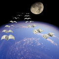 Flight to the Moon. Royalty Free Stock Photography