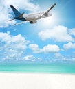 Flight to paradise vacation concept Royalty Free Stock Photos