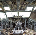 Flightdeck destroyed plane after crash Royalty Free Stock Photos