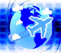 Flights global means travel guide and tours showing globalisation roam travels Royalty Free Stock Photos