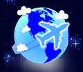 Flights travel represents earth touring and journeys global showing guide aeroplane Stock Photo