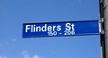 Flinders street sign closeup in melbourne Stock Photo