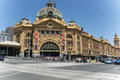 Flinders street station melbourne busiy entrance to in australia Royalty Free Stock Photography