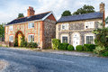 Flint cottages in norfolk pretty country made from brick and Royalty Free Stock Image