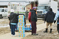 Flint michigan emergency water distribution january bottled by national guardsmen in downtown in has lead Stock Photo