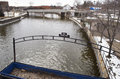 Flint michigan flint river january in downtown water in has lead january usa Stock Photography