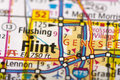 Flint, Michigan on map Royalty Free Stock Photo