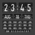 Flip clock template with time date and day illustration Royalty Free Stock Images