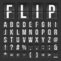 Flip countdown digital calendar clock numbers and letters. vector alphabet, font, airport board arrival symbols Royalty Free Stock Photo