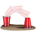 Flip cup game red plastic flipping on end step by step Stock Photo
