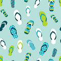 Flip flop color summer pattern. Seamless repeat background
