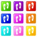 Flip flop sandals icons 9 set Royalty Free Stock Photo