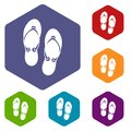 Flip flop sandals icons set Royalty Free Stock Photo